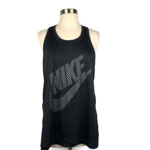 Nike Black Mesh Overlay Racerback Tank Size Med